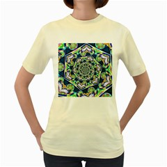 Power Spiral Polygon Blue Green White Women s Yellow T Shirt by EDDArt
