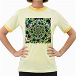 Power Spiral Polygon Blue Green White Women s Fitted Ringer T-Shirts