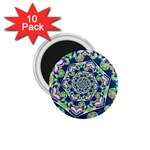 Power Spiral Polygon Blue Green White 1.75  Magnets (10 pack)