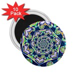 Power Spiral Polygon Blue Green White 2.25  Magnets (10 pack)