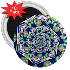 Power Spiral Polygon Blue Green White 3  Magnets (10 Pack)  by EDDArt