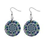 Power Spiral Polygon Blue Green White Mini Button Earrings