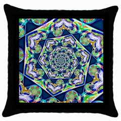 Power Spiral Polygon Blue Green White Throw Pillow Case (black) by EDDArt