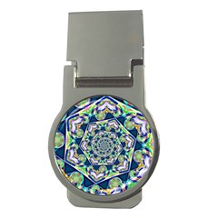 Power Spiral Polygon Blue Green White Money Clips (round)  by EDDArt