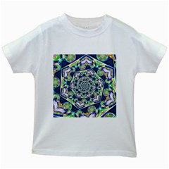 Power Spiral Polygon Blue Green White Kids White T Shirts by EDDArt