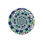 Power Spiral Polygon Blue Green White Magnet 3  (Round)