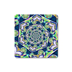 Power Spiral Polygon Blue Green White Square Magnet by EDDArt