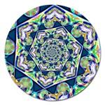 Power Spiral Polygon Blue Green White Magnet 5  (Round)