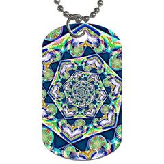 Power Spiral Polygon Blue Green White Dog Tag (one Side) by EDDArt