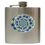 Power Spiral Polygon Blue Green White Hip Flask (6 oz)
