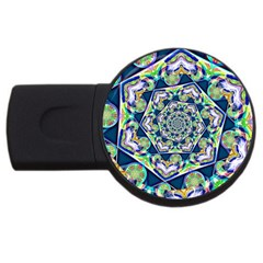 Power Spiral Polygon Blue Green White Usb Flash Drive Round (2 Gb)  by EDDArt