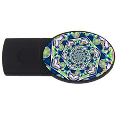 Power Spiral Polygon Blue Green White Usb Flash Drive Oval (2 Gb)  by EDDArt