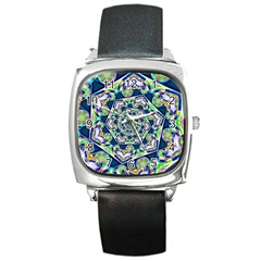Power Spiral Polygon Blue Green White Square Metal Watch by EDDArt