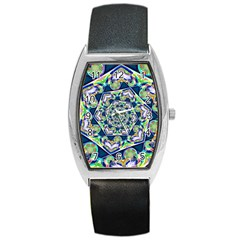 Power Spiral Polygon Blue Green White Barrel Style Metal Watch by EDDArt