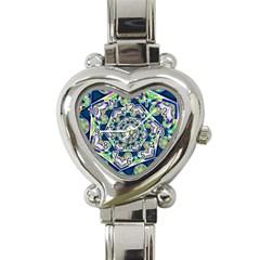 Power Spiral Polygon Blue Green White Heart Italian Charm Watch by EDDArt