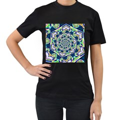 Power Spiral Polygon Blue Green White Women s T Shirt (black) (two Sided) by EDDArt