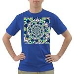 Power Spiral Polygon Blue Green White Dark T-Shirt
