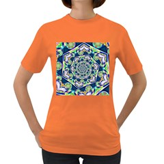 Power Spiral Polygon Blue Green White Women s Dark T Shirt by EDDArt