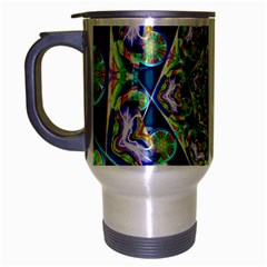 Power Spiral Polygon Blue Green White Travel Mug (silver Gray) by EDDArt