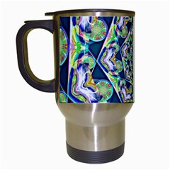 Power Spiral Polygon Blue Green White Travel Mugs (white) by EDDArt