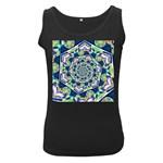 Power Spiral Polygon Blue Green White Women s Black Tank Top