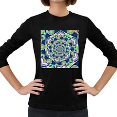Power Spiral Polygon Blue Green White Women s Long Sleeve Dark T Shirts by EDDArt
