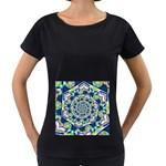 Power Spiral Polygon Blue Green White Women s Loose-Fit T-Shirt (Black)