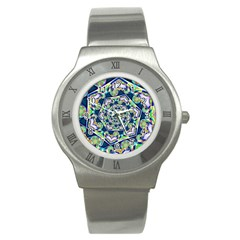 Power Spiral Polygon Blue Green White Stainless Steel Watch by EDDArt