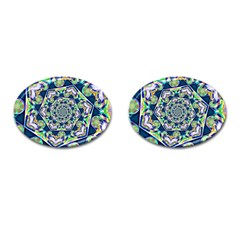 Power Spiral Polygon Blue Green White Cufflinks (oval) by EDDArt