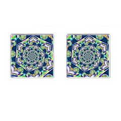 Power Spiral Polygon Blue Green White Cufflinks (square) by EDDArt