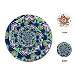Power Spiral Polygon Blue Green White Playing Cards (Round)