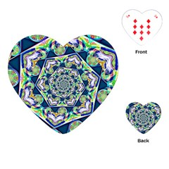 Power Spiral Polygon Blue Green White Playing Cards (heart)  by EDDArt