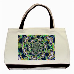 Power Spiral Polygon Blue Green White Basic Tote Bag by EDDArt