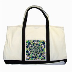 Power Spiral Polygon Blue Green White Two Tone Tote Bag by EDDArt