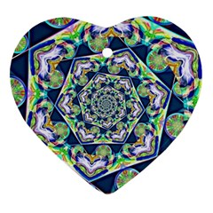 Power Spiral Polygon Blue Green White Heart Ornament (2 Sides) by EDDArt