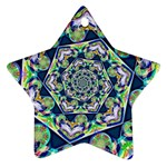 Power Spiral Polygon Blue Green White Star Ornament (Two Sides)