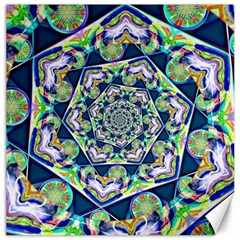 Power Spiral Polygon Blue Green White Canvas 16  X 16   by EDDArt
