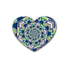 Power Spiral Polygon Blue Green White Heart Coaster (4 Pack)  by EDDArt