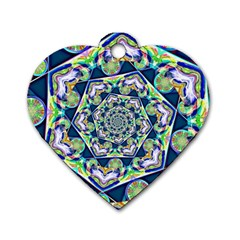 Power Spiral Polygon Blue Green White Dog Tag Heart (one Side) by EDDArt
