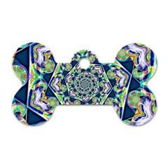 Power Spiral Polygon Blue Green White Dog Tag Bone (two Sides) by EDDArt
