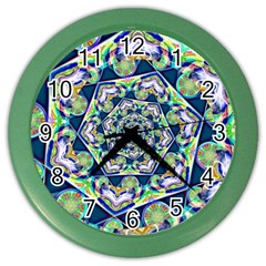 Power Spiral Polygon Blue Green White Color Wall Clocks by EDDArt