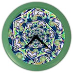 Power Spiral Polygon Blue Green White Color Wall Clocks
