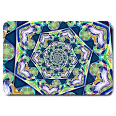 Power Spiral Polygon Blue Green White Large Doormat  by EDDArt