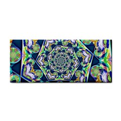 Power Spiral Polygon Blue Green White Hand Towel by EDDArt