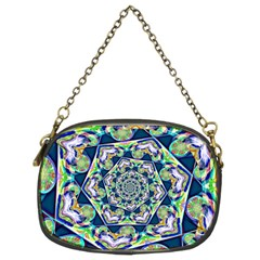 Power Spiral Polygon Blue Green White Chain Purses (two Sides)  by EDDArt