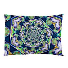 Power Spiral Polygon Blue Green White Pillow Case by EDDArt