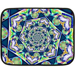 Power Spiral Polygon Blue Green White Double Sided Fleece Blanket (mini)  by EDDArt