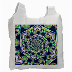 Power Spiral Polygon Blue Green White Recycle Bag (two Side)  by EDDArt