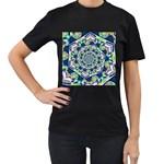 Power Spiral Polygon Blue Green White Women s T-Shirt (Black)