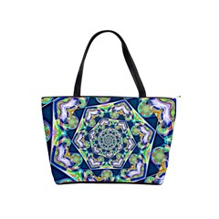 Power Spiral Polygon Blue Green White Shoulder Handbags by EDDArt